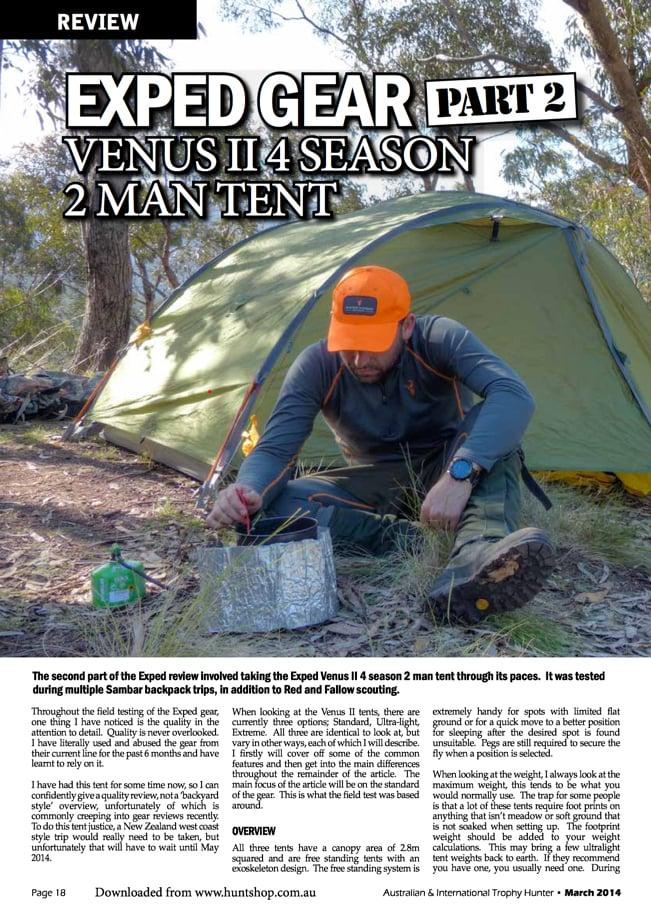 Exped Gear, Venus II, 4 Season 2 Man Tent review by Australian & International Trophy Hunter Magazine